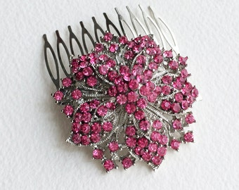 Pink hair accessories, pink hair comb, fuchsia, flower, pink art deco silver comb bridesmaid hair clip headpiece