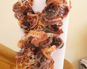 Blow out Sale! Crocheted Orange and brown ruffle scarf with sequence accents