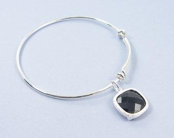 Silver Adjustable Bangle Bracelet Black Charm Bracelet Silver Adjustable Bracelet with Black Drop Charm Minimalist Jewelry |2741