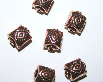 5 Shiny Copper Rectangle Beads
