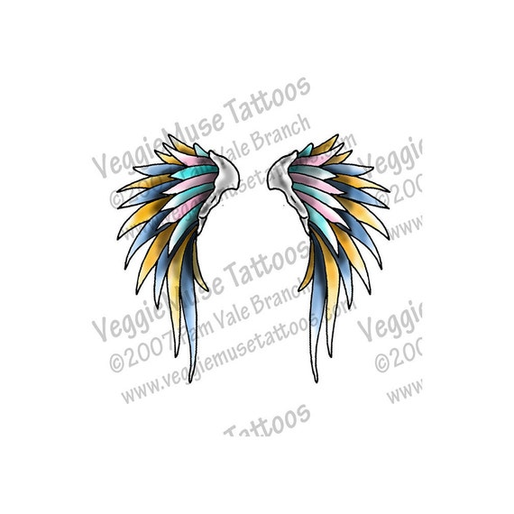 Tattoo Flash Wallpaper By Feathr: Items Similar To Tattoo Art Flash Design Wings Feathers On