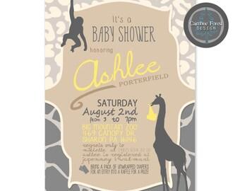 Custom Baby Shower INVITATION DESIGN - Jungle Safari Giraffe Monkey Leopard Animal Print