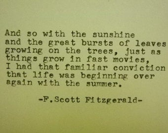 F SCOTT FITZGERALD Quote Typed on Typewriter Sunshine quote