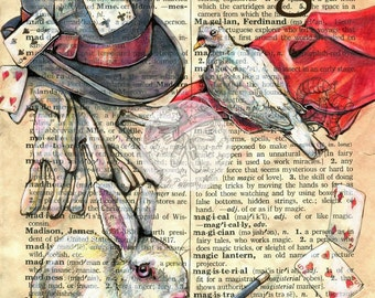 PRINT:  Magic Mixed Media Drawing on Distressed, Dictionary Page
