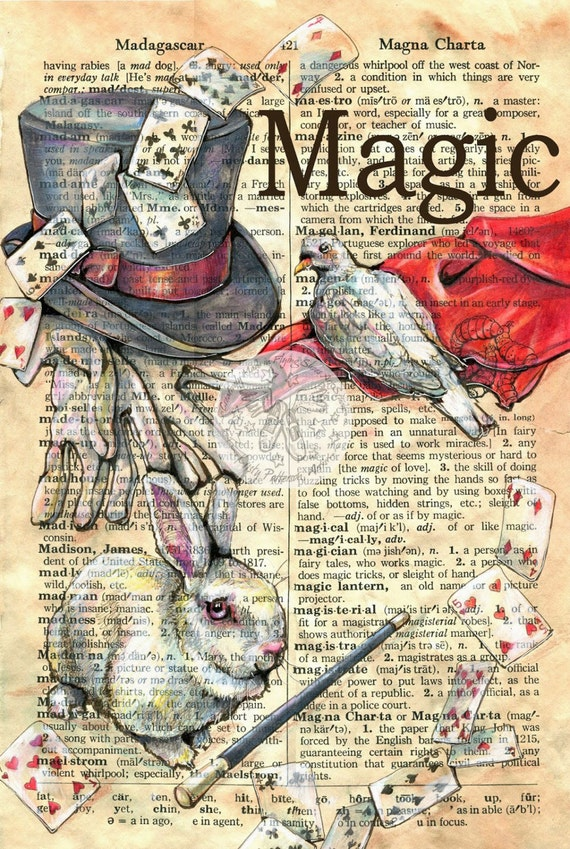print magic mixed media drawing on distressed dictionary
