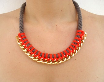 Neon Bib necklace, Rope necklace, Gold Chain Necklace, knotted necklace, modern necklace, Tribal necklace, summer necklace, fluo necklace