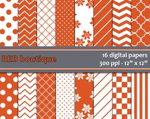 Digital Paper - Burnt orange, rust, white, flowers, quatrefoil, dots, polka dots, chevron, stripes, checker, paper pack, scrapbooking 75
