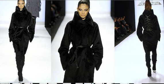Irina Shabayeva Signature Oversize Coat with back braided details.