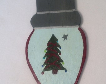 Rustic personalized Christmas tree Christmas ornament,primitive wooden gift tag