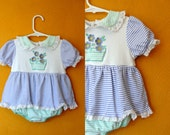 Vintage Romper dress, one piece. pastel stripes and flowers. Baby vintage. Baby dress Size 9/12M