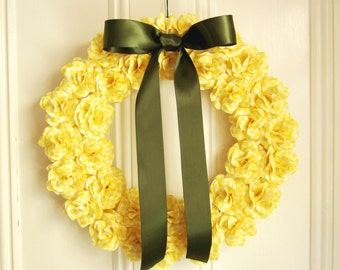 Spring Wreath  Yellow Gingham  Paper Rose Wreath Spring Summer Decor