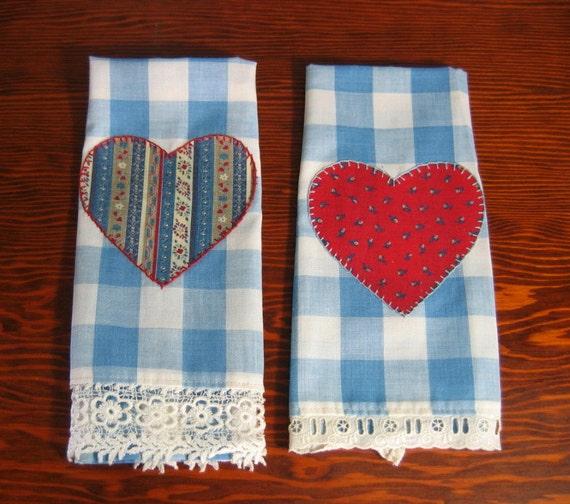 Vintage Towels: Vintage Tea Towels Hearts Dish Towel By DreamWeaverTreasures