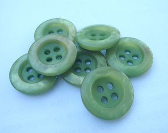 7 Green Shine Sewing Buttons Round 19mm or 3/4th's Inch Plastic 4 Hole