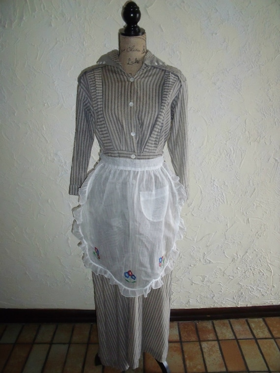 Vintage 1920s gray Female Uniform Or Dress Clothes Work Prison Attire With Apron