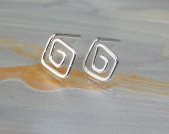 "Silver Stud Earrings ""Aphrodite"" Sterling Silver Post Earrings, Stud Earrings Geometric Jewellery Bridesmaids Earrings, Gift Ideas"