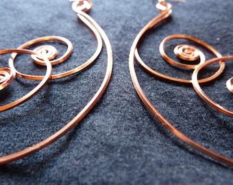 Double Spiral Copper Earrings