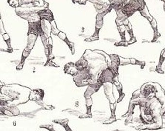 Antique French Print Dictionary Page 1930s Illustrations Wrestling lutte tag Jiu Jitsu