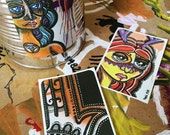 "Paula Tamara Hoss Stickers Pack - pack of 3 vinyl stickers - set 2 - 3.5""x2.5"" - original art print graffiti stickers"