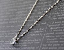0.50 Ct. Solitaire Briolette Cut Sapphire Necklace in 14K White Gold