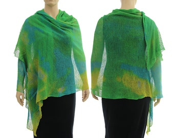 Boho knitted linen shawl wrap scarf, hand dyed linen shawl green blue yellow, large linen shawl scarf small to plus size, US size 6 up to 20