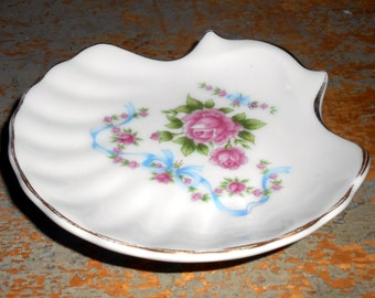 Vintage Soap Dish,  Roses, Trinket Dish, Floral, Pink,Shabby