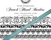 """Vintage French Floral Border Overlay Transparency  # 2- Designer Templates - Commercial Use Allowed  ( 5 Separate - 12"""" x 300dpi)  PNG Files"""