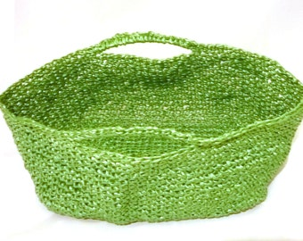 Green Poly Grab Bag Basket. Ideal for crafters. Crocheted Polypropylene