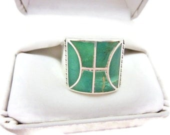 Vintage Sterling Silver and Turquoise Inlay Man's Ring Size 12