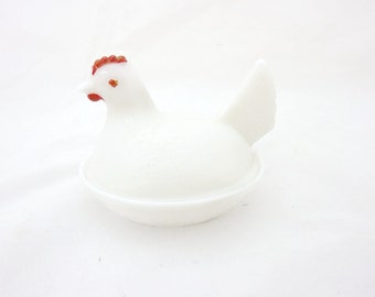 White Milk Glass Hen on a Basket