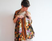 Present for Her, Little Flower Scarf, Floral Cotton Scarf, Shabby Chic Scarf, Orange Scarves, Scarf Wrap. Gift for Her
