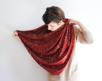 Red Scarf - gold speckled scarf - Infinity Scarf Galaxy Loop Scarf Circle Scarf  Women Scarves - Spring Summer scarf Long Neck Scarf