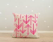 Cushion Cover, Pillow Cover, Throw Pillow - Neon Pink Arrows - Linen Cotton 40x40cm