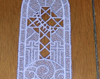 Embroidered Bookmark  -  Cross with Thorns - Lavender