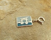 Sterling Silver Torrii Japan 2-Sided Postcard Charm on an 8mm Sterling Silver Spring Ring - 2336
