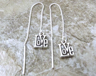 Sterling Silver Mini Love Charms on Sterling Silver Threader Earrings - 0829