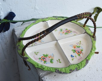 Hand-Painted Work of Art Japanese Sectional Dish, Vintage