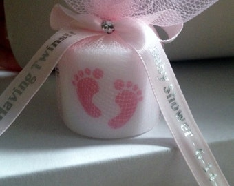 Delightful 25 Twins Baby Shower, Shower Favors,Gender RevealThemed Party Favors,  Votive Candle With