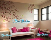 Nursery wall decals Children Wall Sticker Cherry Blossom Tree Wall Decal , Flowers ,Butterfly, baby Kids room
