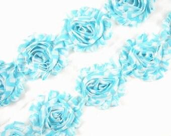 """2.5"""" PRINTED Shabby Rose Trim - Blue  Chevron - Chiffon Trim - Shabby Trim -  Blue Shabby Trim -Hair Accessories Supplies"""