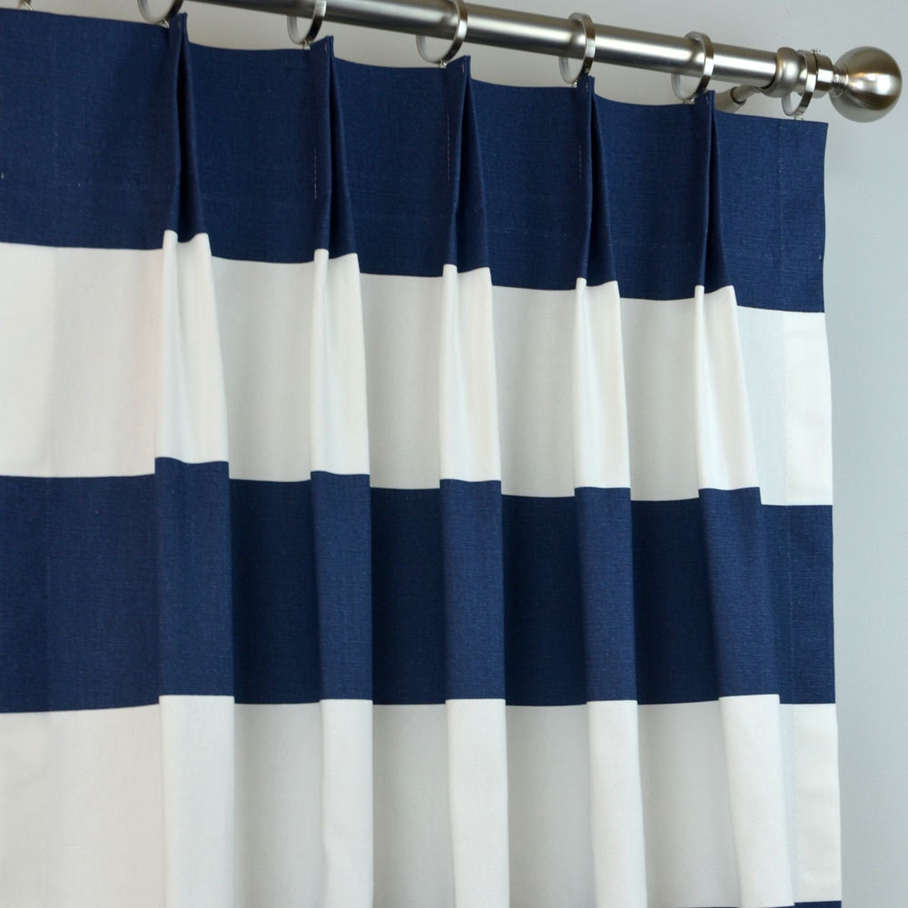 Navy Blue White Buffalo Check Curtains Pinch Pleat 84 96