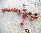 Reserved for Robin P.- Eco-Friendly Hair Barrette with Light Pink Organic Beads & Hippie Dangles