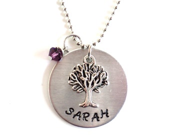Custom Hand Stamped Necklace Tree of Life Yoga Jewelry Engraved Sarah Unique Earthy Gift For Her Christmas Stocking Stuffer Under 30 Item N3