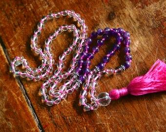 Zen Mala-Crystal and Amethyst Sterling Silver 108 Mala Beads Full Mantra Mala Bhakti Yoga Jewelry Healing Gemstone Crystal Prayer Beads