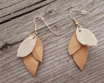 Leather 3 Leaf Earrings