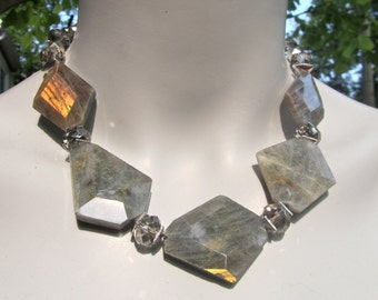 Labradorite Necklace, Chunky Labradorite, Labradorite Slabs, Slab Necklace, Natural Stone, Silver Grey Crystals, Big Bold Chunky  798