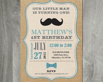 Mustache Birthday Invitation, Bow Tie, Custom Personalized, Diy Party Printable, Printing Available, Digital, Baby Shower, Mustache Bash