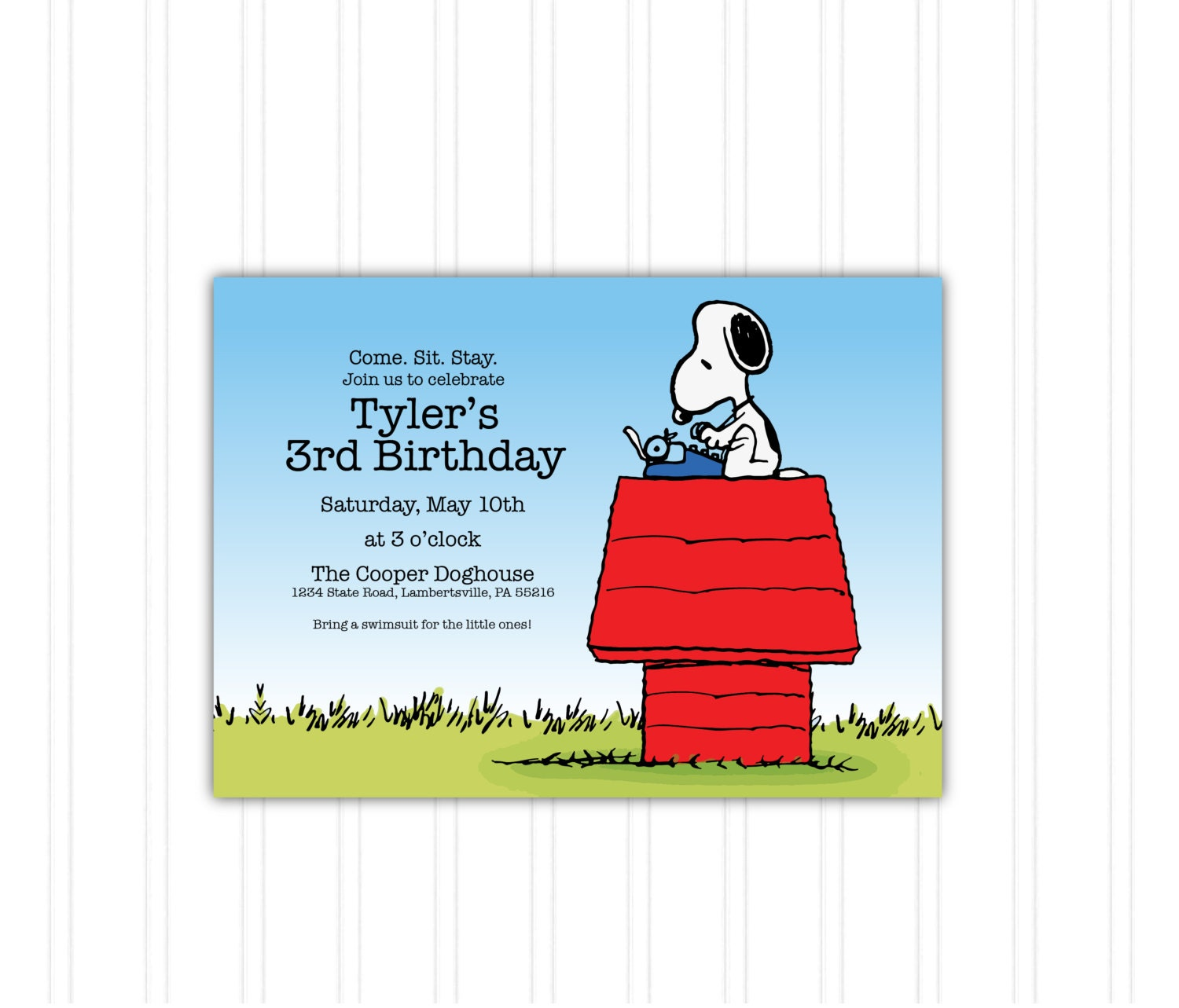Snoopy Doghouse Peanuts Birthday Invitation Printable Download