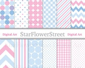 Blue Pink Digital Paper -- patterned baby scrapbook background -- gingham dot chevron patterns girl twins -- Instant Download