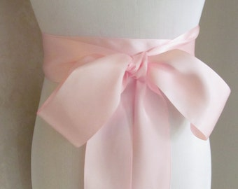 Light Pink Bridal Sash /  Double Face Sash Ribbon /  Ribbon Sash /  12FT SASH / 9ft sash / 6ft sash