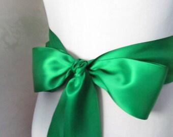 Emerald Green  Bridal Sash /  Double Face Sash  Ribbon /  Ribbon Sash /  12ft sash / 9ft sash / 6ft sash